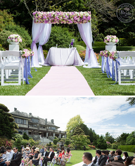 Outdoor wedding ceremony at Cecil Green Park House. Square arch with flowers and draping.