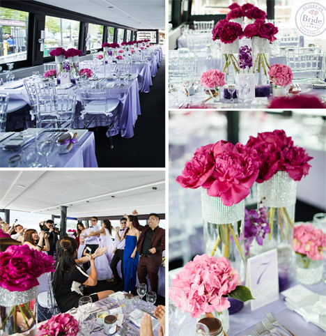 Wedding reception on The Wedding Yacht in Vancouver. Pink, lilac, and silver decor.