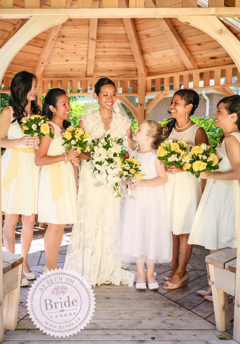 Bride with bridesmaids in yellow dresses. Allure lace wedding dress.