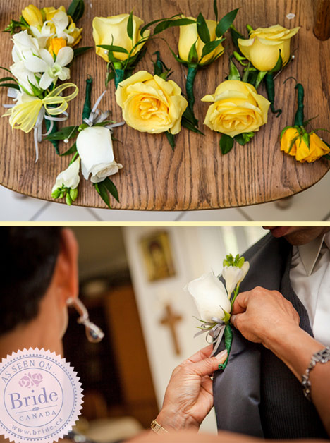 Groom and groomsmen getting ready. Yellow and white boutonnières.