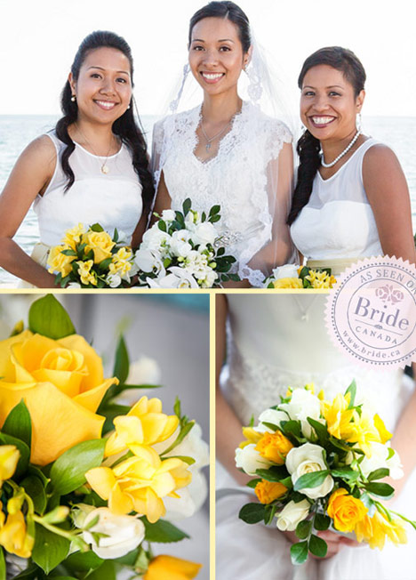 Yellow and white wedding bouquets. Bridal party portraits in Pickering Ontario