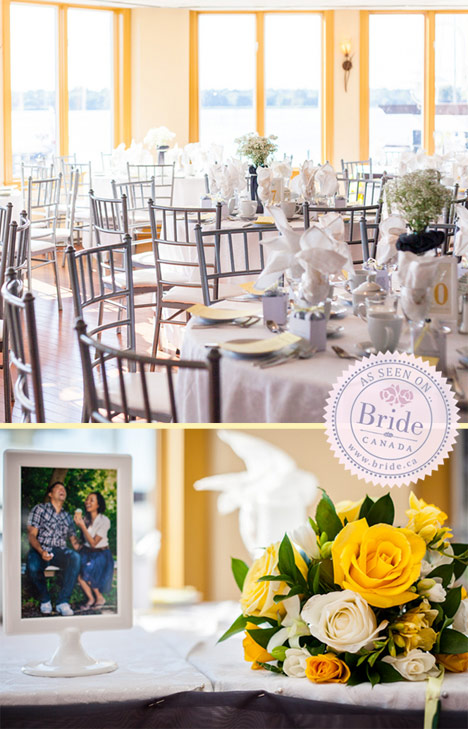 Yellow, white, and grey themed wedding at The Lake House in Pickering Ontario