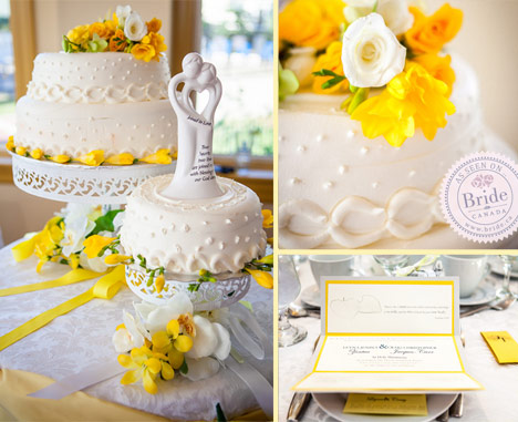 Yellow and white wedding cake and invitations. Couple cutting the cake