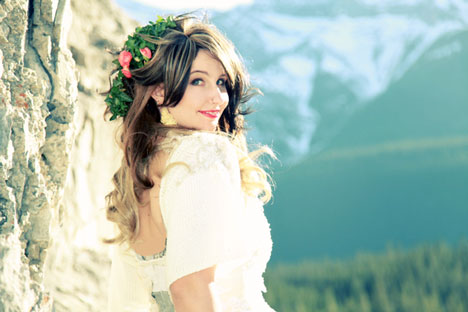 Beautiful Canadian Bride: Kristina, in the Rockie Mountains (Kyla Mae Wedding Photography, Calgary, Alberta)