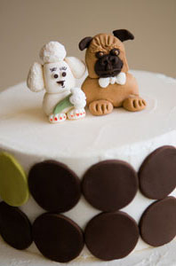 Dog-themed cake topper