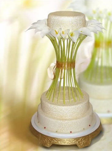 Fresh flowers (iris) wedding cake topper