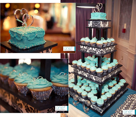 Good IDea: incorportate a mini cutting cake to the top of the cupcake tower