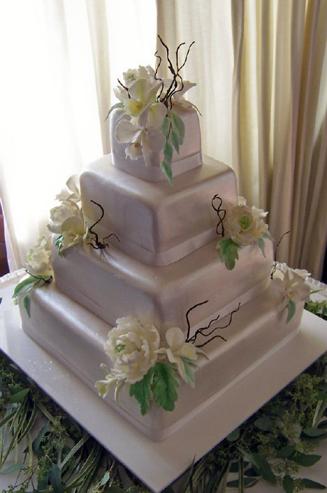 Flowery Tiered Wedding Cake