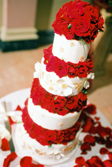 Rose Covered Wedding Cake