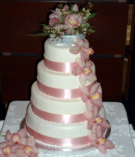 Four Layer Cake with Broad Pink Ribbons and Orchids - TJ's Cake Design