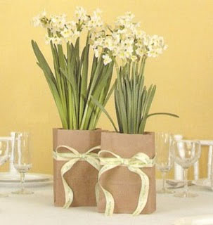 paper bag floral wedding centerpieces