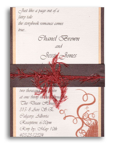 Channel wedding invitation Featuring triple layers and a unique feathered