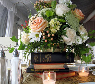 Book-themed wedding décor