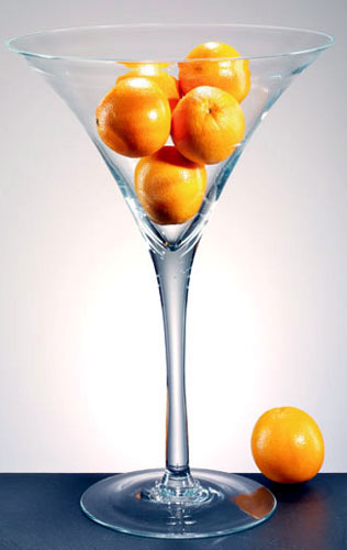 Fruit-filled martini glass vase, as a DIY wedding centrepiece idea
