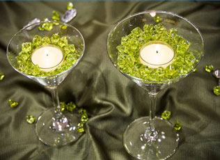 bead-filled, candled-topped martini glasses, as a DIY wedding centerpiece idea