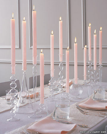Pink candles centrepiece