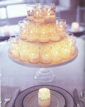 Tiered candeles, as a wedding centrepiece