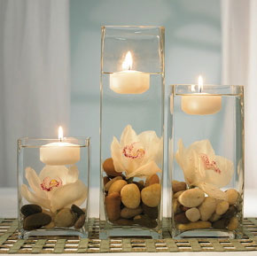 Combination floating candle, orchid flower, glass vase DIY wedding centrepiece