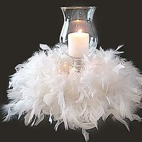 White feather and candle, DIY wedding centrepiece idea