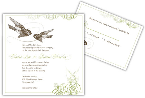 Digital teplate DIY wedding invitations by Uniquity Design in Vancouver