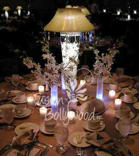 water and light wedding centerpiece by Fusion Bollywood in Calgary