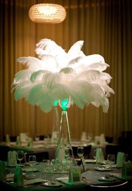 Bride décor idea ostrich feather centerpieces