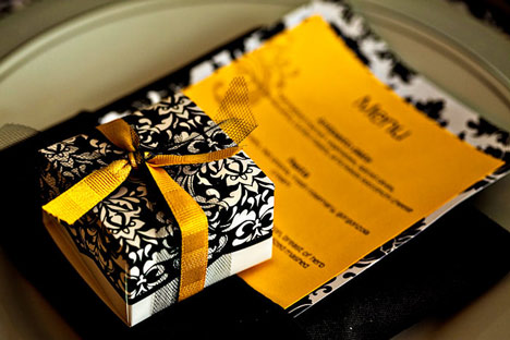 Yellow Damask & Black wedding table setting