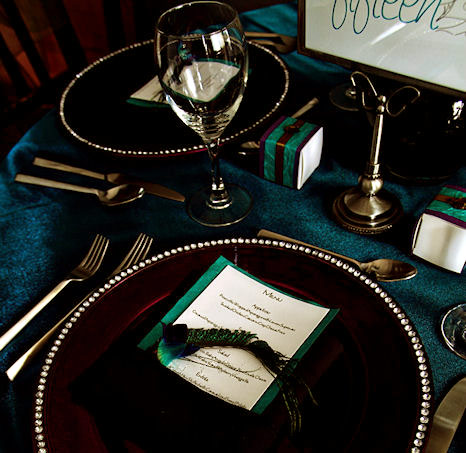 Peacock wedding table setting