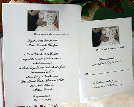 Vignette wedding invitation