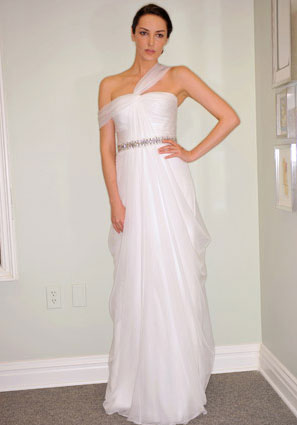 Lela Rose grecian style simple wedding dress