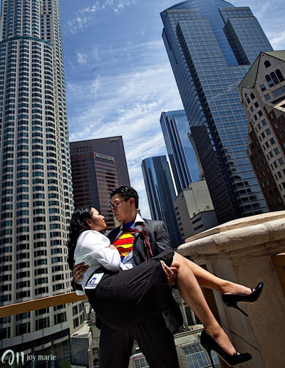 Themed Engagement photography: film : superman
