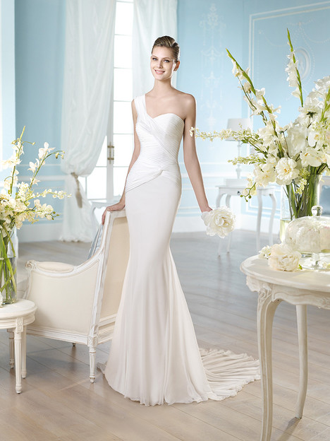 Wedding dress with asymmetric neckline. Style Habidd by St. Patrick.