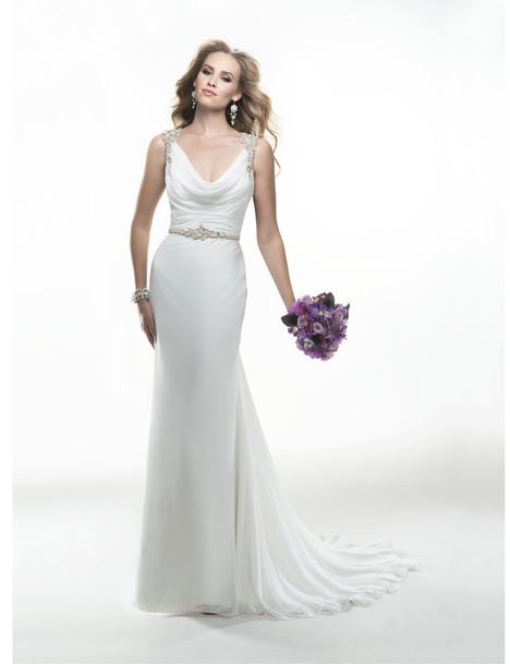 Wedding dress with cowl neckline. Style Taren by Maggie Sottero.