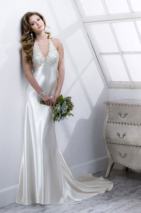 Wedding dress with halter neckline. Style Azita by Sottero & Midgley.