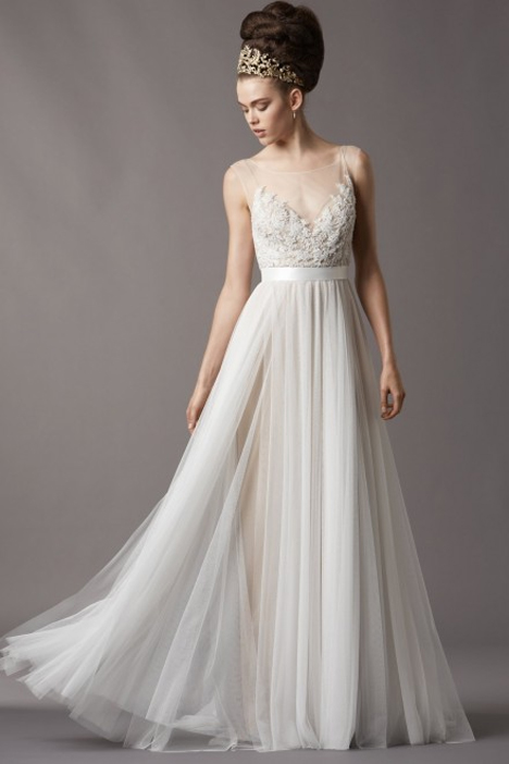 Wedding dress with illusion neckline. Style Jacinda by Watters Brides.
