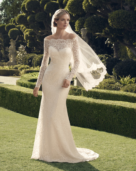 Wedding dress with off-the-shoulder neckline. Style 2169 by Casablanca Bridal.