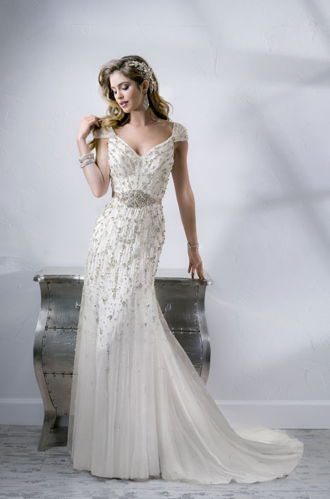Wedding dress with portrait neckline. Style Bellevue by Sottero and Midgley.