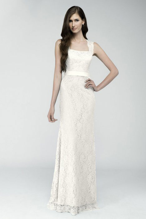 Wedding dress with square neckline. Style Milan by Watters Encore.