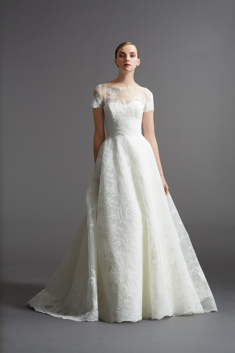 Wedding dress with short sleeves. Style Maddalena with Matthias Jacket by Watters Brides.