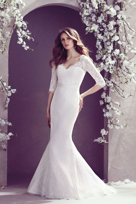 Wedding dress with elbow length sleeve. Style 1808 by Mikaella.