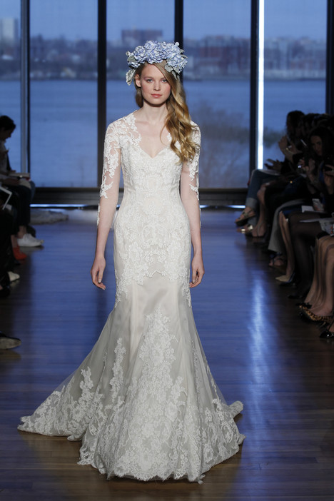 Wedding dress with 3/4 length sleeves. Style Silvine by Ines di Santo.