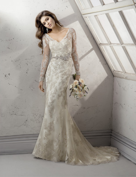 Wedding dress with full-length fitted sleeves. Style Anastasia by Sottero and Midgley.