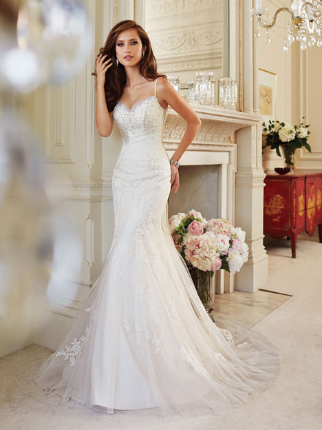 Wedding dress with spaghetti straps. Style Cloris by Sophia Tolli.