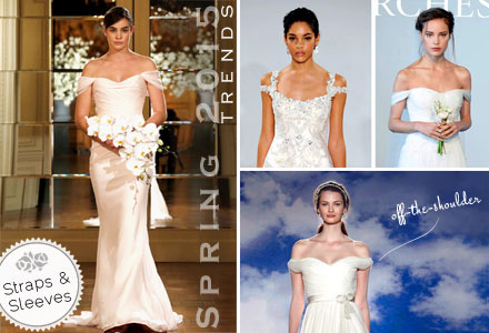 Bridal Gown Spring 2015 Trends, Straps, Sleeves, Off-the-Shoulder, Draped