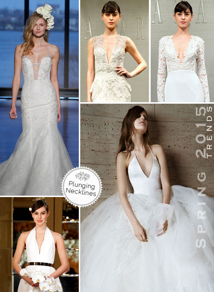 Plunging necklines, Deep-V, V-Neck, trneding for 2015 Wedding Dresses