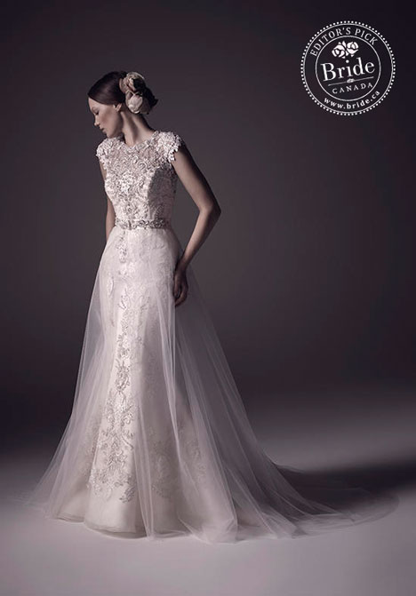 Mila wedding gown by new wedding dress designer Amare with detachable tulle skirt and trumpet lace dress