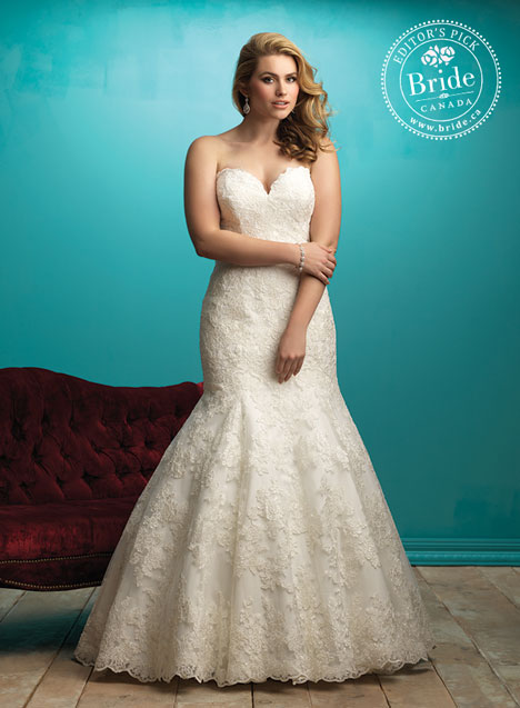 Allure Women W360 fit and flare lace wedding dress for plus size and curvy brides