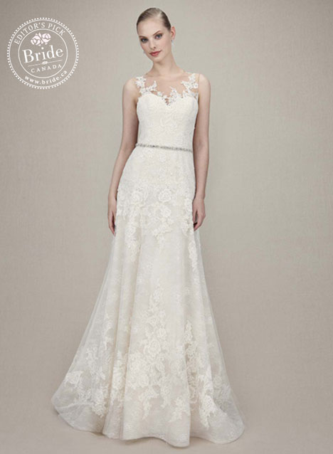 Enzoani Karina popular lace sheath wedding dress with illusion neckline