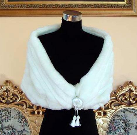 Ivory V-neck Fur Stole