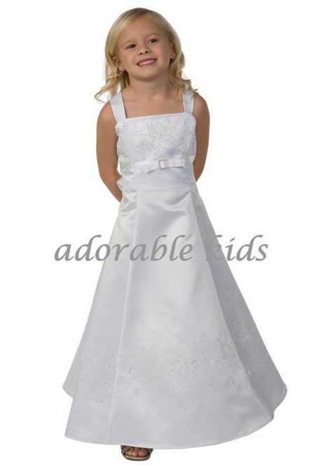 White Scarlet Flower Girl Dress